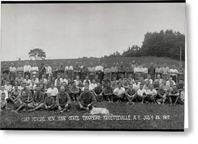 Portrait Of Group Of People At Camp Greeting Card