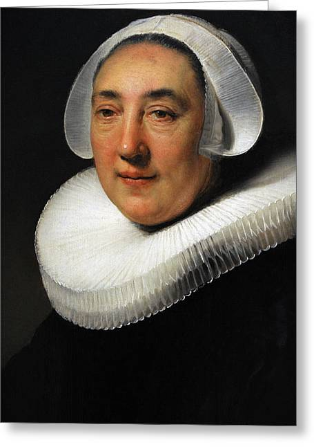 Portrait Of Haesje Jacobsdr Van Cleyburg, 1634, By Rembrandt 1606-1669 Greeting Card