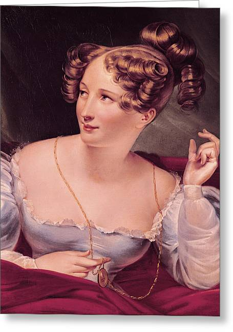 Portrait Of Harriet Smithson 1800-54 Oil On Canvas Greeting Card by French School