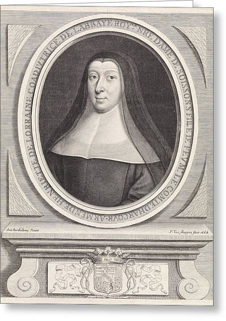 Portrait Of Henriette Of Lorraine, Princess Of Pfalzburg Greeting Card by Pieter Van Schuppen