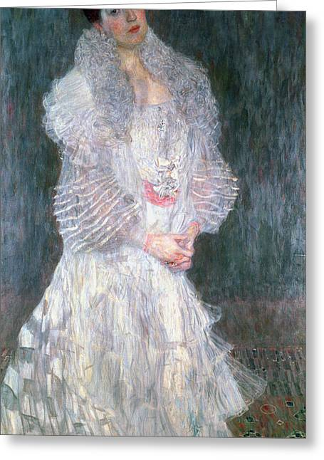 Portrait Of Hermine Gallia Greeting Card by Gustav Klimt