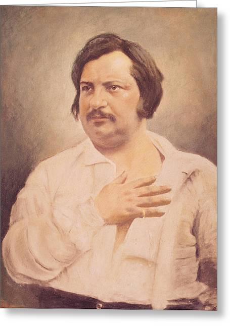 Portrait Of Honore De Balzac Greeting Card by French School