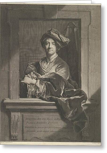 Portrait Of Hyacinthe Rigaud Greeting Card by Pierre Imbert Drevet