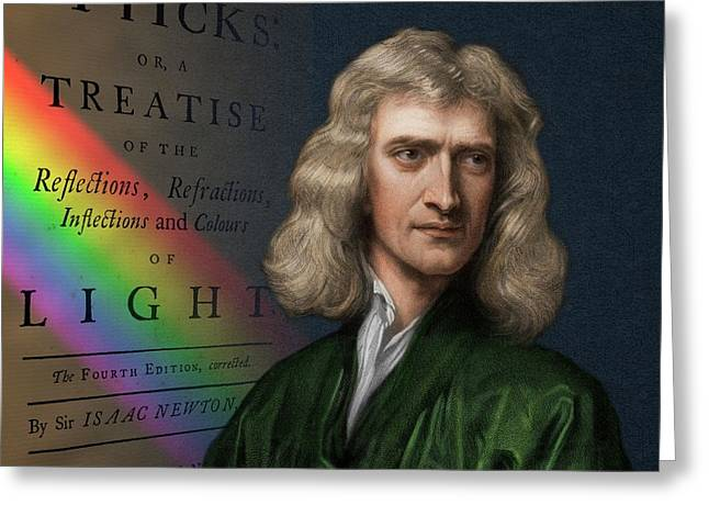 Portrait Of Isaac Newton With Spectrum Greeting Card