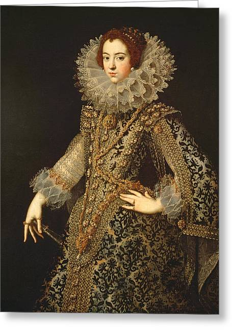 Portrait Of Isabel Of Bourbon, Wife Of Philip Iv 1605-65 Oil On Panel Greeting Card
