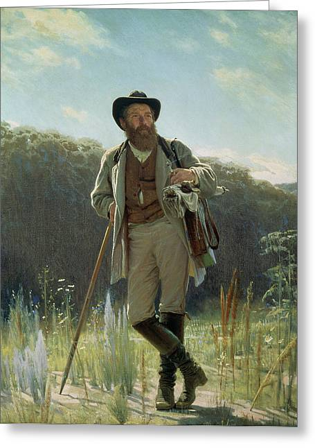 Portrait Of Ivan Ivanovich Shishkin Greeting Card by Ivan Nikolaevich Kramskoy