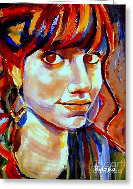 Portrait Of Ivana Greeting Card by Helena Wierzbicki