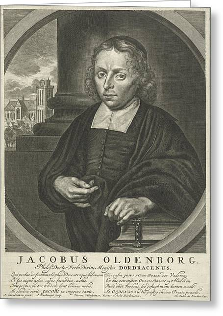 Portrait Of James Oldenburg, Pastor, Jan Luyken Greeting Card by Jan Luyken And Adriaen Haelwegh And Hermanus Neuspitzer