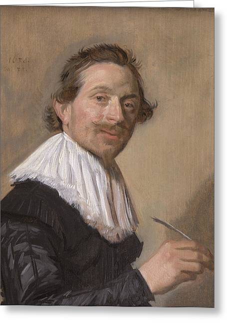 Portrait Of Jean De La Chambre At The Age Of 33, 1638 Oil On Panel Greeting Card