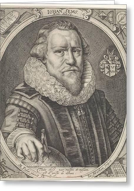 Portrait Of Johan Sems, Jacob Matham Greeting Card by Jacob Matham