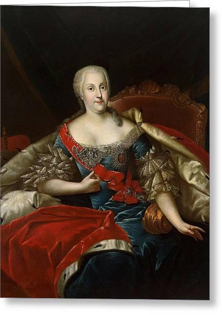 Portrait Of Johanna-elizabeth, Electress Of Anhalt-zerbst, C.1746 Oil On Canvas Greeting Card by Antoine Pesne