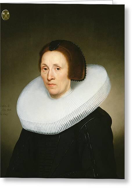 Portrait Of Johanna Van Diemen, Aged 61, 1647 Oil On Panel Greeting Card by Jacob Gerritsz Cuyp