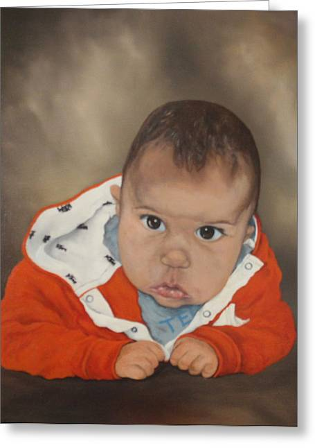 Greeting Card featuring the painting Portrait Of Joshua by Jean Walker