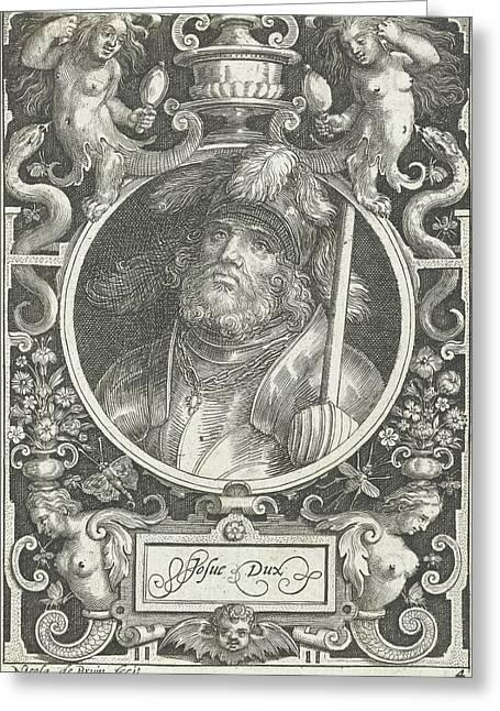 Portrait Of Joshua Medallion Inside Rectangular Frame Greeting Card by Nicolaes De Bruyn