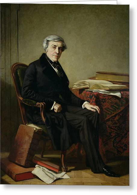 Portrait Of Jules Michelet 1798-1874 Oil On Canvas Greeting Card by Thomas Couture