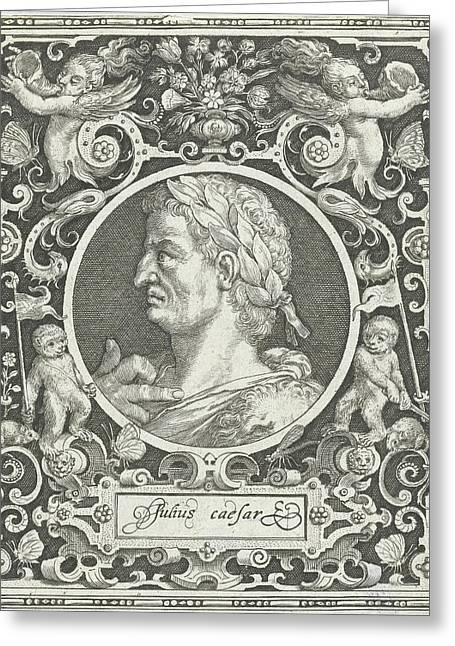 Portrait Of Julius Caesar In Medallion Inside Rectangular Greeting Card