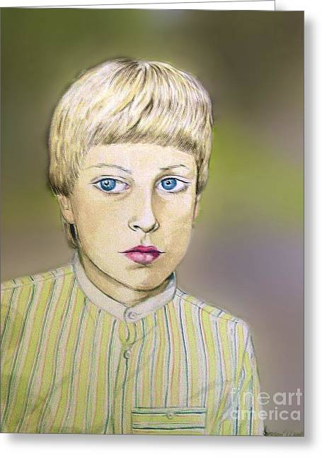 Portrait Of Justin Age 9 Greeting Card