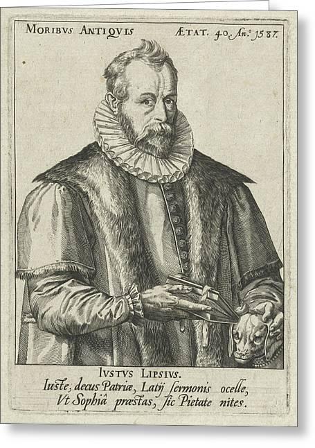 Portrait Of Justus Lipsius, Anonymous, Hendrick Goltzius Greeting Card