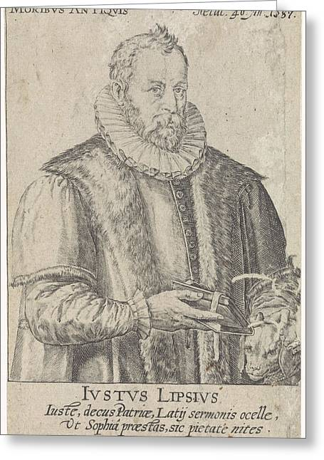 Portrait Of Justus Lipsius, Crispijn Van De Passe Greeting Card by Crispijn Van De Passe (i) And Hendrick Goltzius And Johann Bussemacher