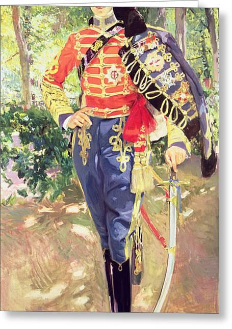 Portrait Of King Alfonso Xiii  Greeting Card by Joaquin Sorolla y Bastida