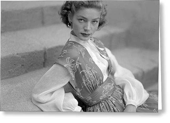 Portrait Of Lauren Bacall Greeting Card by Clifford Coffin