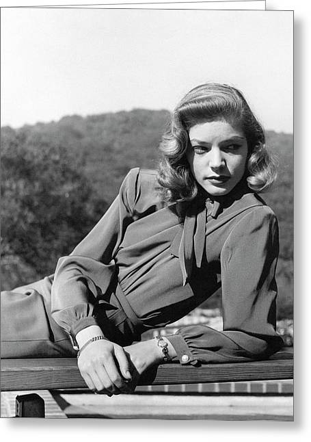 Portrait Of Lauren Bacall Greeting Card by Crane Ralph
