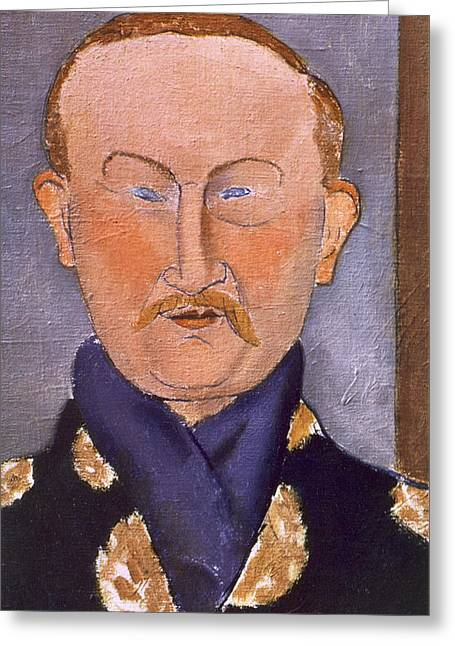 Portrait Of Leon Bakst Greeting Card by Amedeo Modigliani