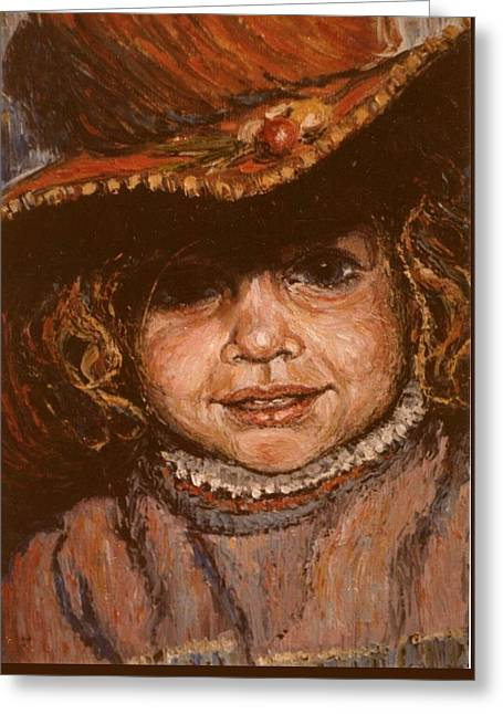 Greeting Card featuring the painting Portrait Of Leticia by Walter Casaravilla