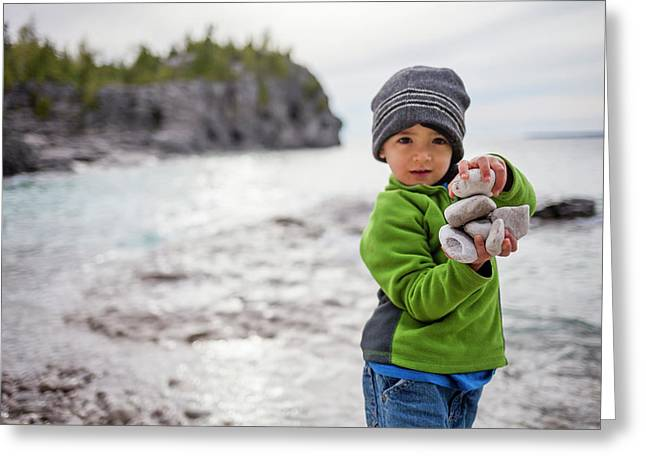Portrait Of Little Boy Standing At Lake Greeting Card