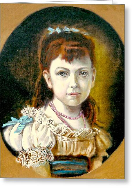 Portrait Of Little Girl Greeting Card by Henryk Gorecki