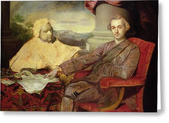 Portrait Of Lord Rockingham And Edmund Greeting Card by Sir Joshua Reynolds