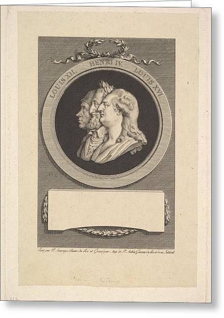 Portrait Of Louis Xvi, Henri Iv Greeting Card by Augustin de Saint-Aubin