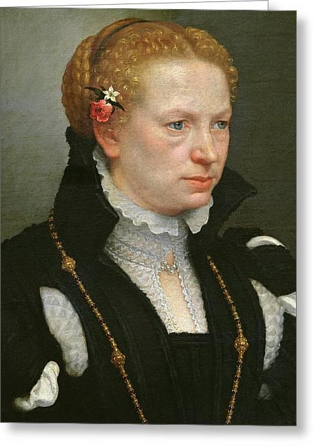 Portrait Of Lucia Vertova Agosti Greeting Card by Giovanni Battista Moroni
