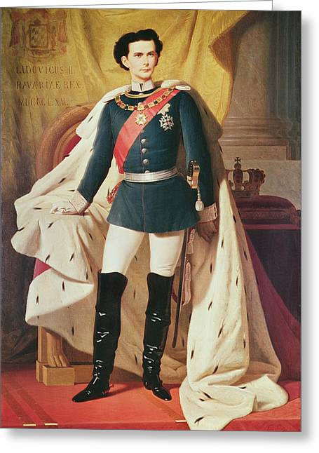 Portrait Of Ludwig II 1845-86of Bavaria In Uniform, 1865 Oil On Canvas Greeting Card