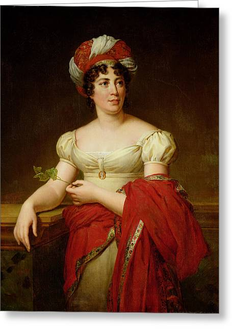 Portrait Of Madame De Stael Greeting Card by Marie Eleonore Godefroid