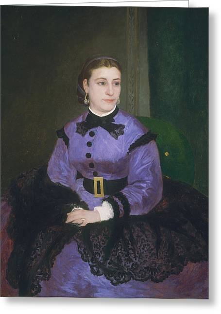 Portrait Of Mademoiselle Sicot, 1865 Oil On Canvas Greeting Card