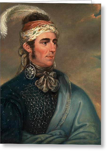 Portrait Of Major John Norton As Mohawk Chief Greeting Card by Litz Collection