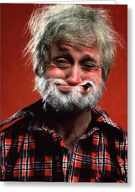 Portrait Of Man Character Hillbilly Greeting Card