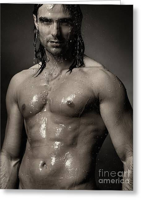 Portrait Of Man With Wet Bare Torso Standing Under Shower Black  Greeting Card by Oleksiy Maksymenko