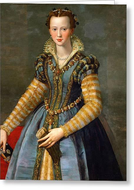 Portrait Of Maria De Medici Or Eleonora Di Garzia Di Toledo Greeting Card by Alessandro Allori