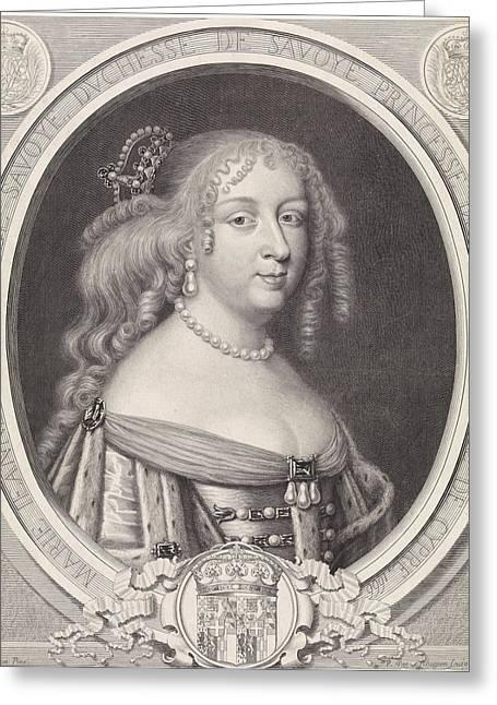 Portrait Of Maria Johanna Baptiste, Duchess Of Savoy Greeting Card