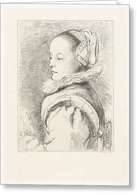 Portrait Of Maria Tesselschade Roemer Visscher Greeting Card by Artokoloro