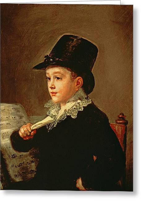 Portrait Of Marianito Goya, Grandson Of The Artist, C.1815 Oil On Canvas Greeting Card by Francisco Jose de Goya y Lucientes