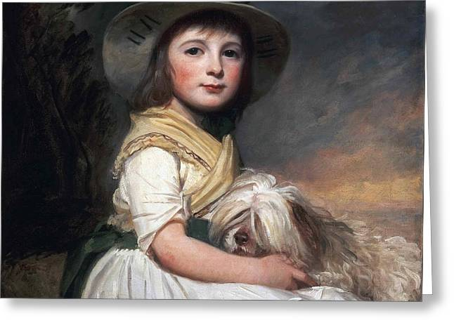 Portrait Of Marianne Holbech Greeting Card by George Romney
