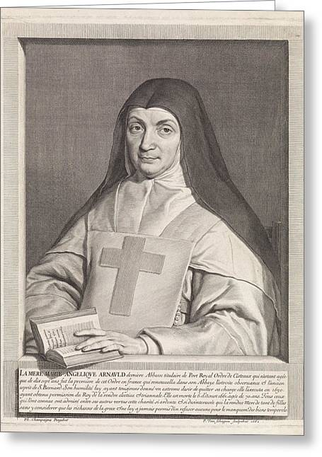 Portrait Of Marie Angelique Arnauld, Pieter Van Schuppen Greeting Card by Pieter Van Schuppen