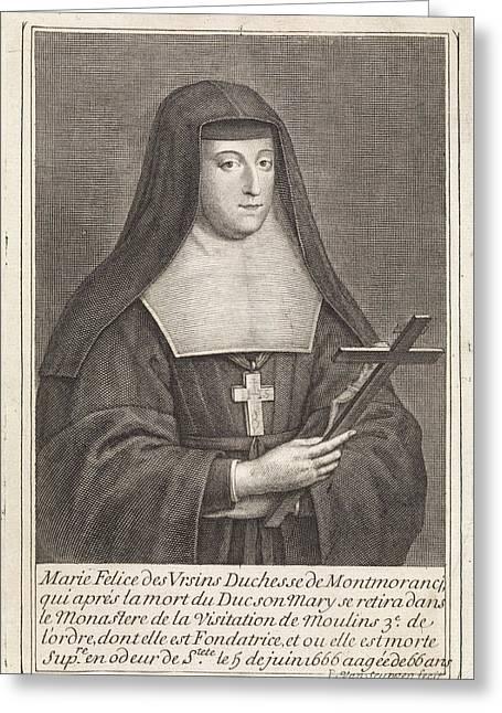 Portrait Of Marie-flice Orsini, Duchess Of Montmorency Greeting Card by Duchess Of Montmorency And Pieter Van Schuppen