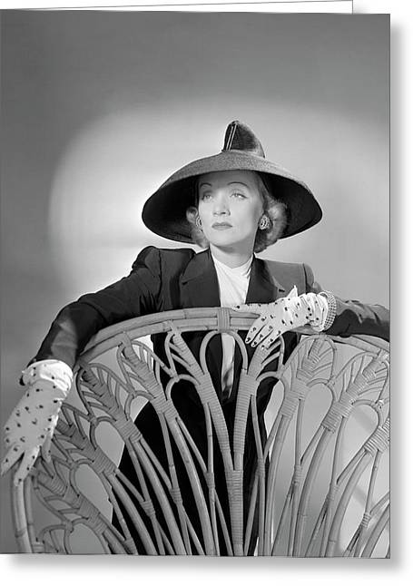 Portrait Of Marlene Dietrich Greeting Card by Horst P. Horst