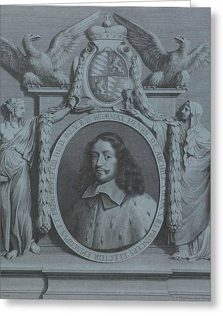 Portrait Of Maximilian Henry Of Bavaria, Archbishop Greeting Card by Pieter Van Schuppen