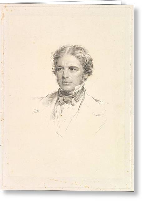 Portrait Of Michael Faraday Greeting Card by After George Richmond