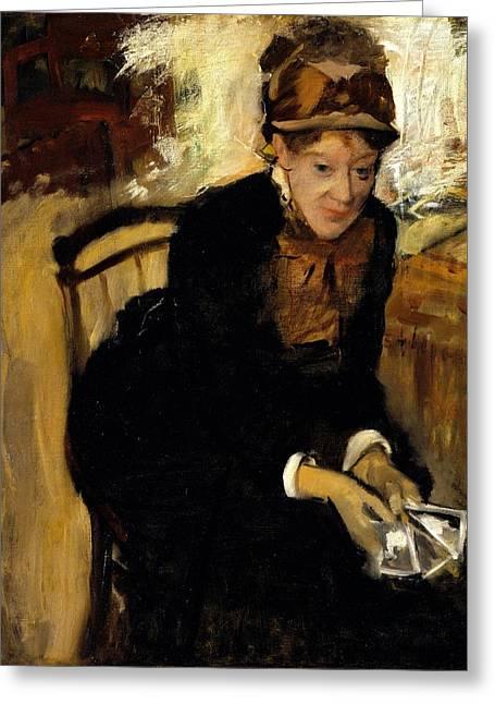 Portrait Of Miss Cassatt Holding The Cards Greeting Card by Edgar Degas